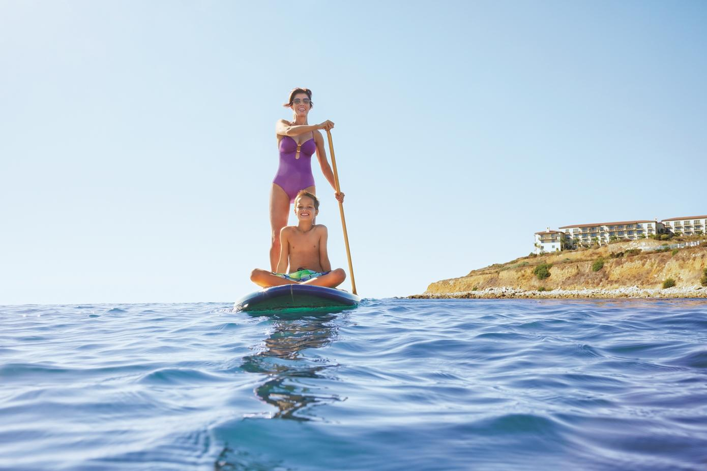 Paddle boarding from the beach cove