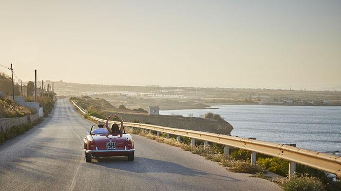 Following the Cinematic Sicily itinerary by vintage car