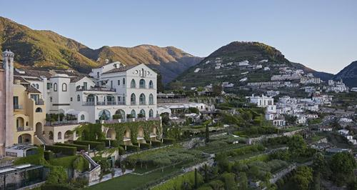Aerial view of the hotel, where our manicured gardens meet the mountains