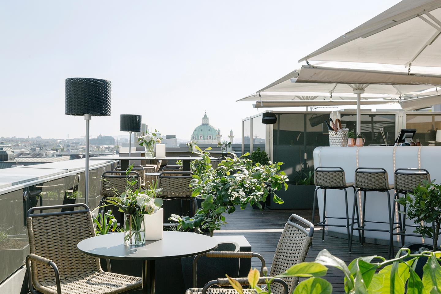 The Atmosphere Rooftop Bar offers a magnificent view across the city center