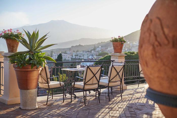 View on Mount Etna from the Literary Terrace