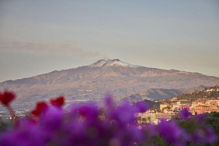 Snowy Mount Etna is the backdrop of the hotel