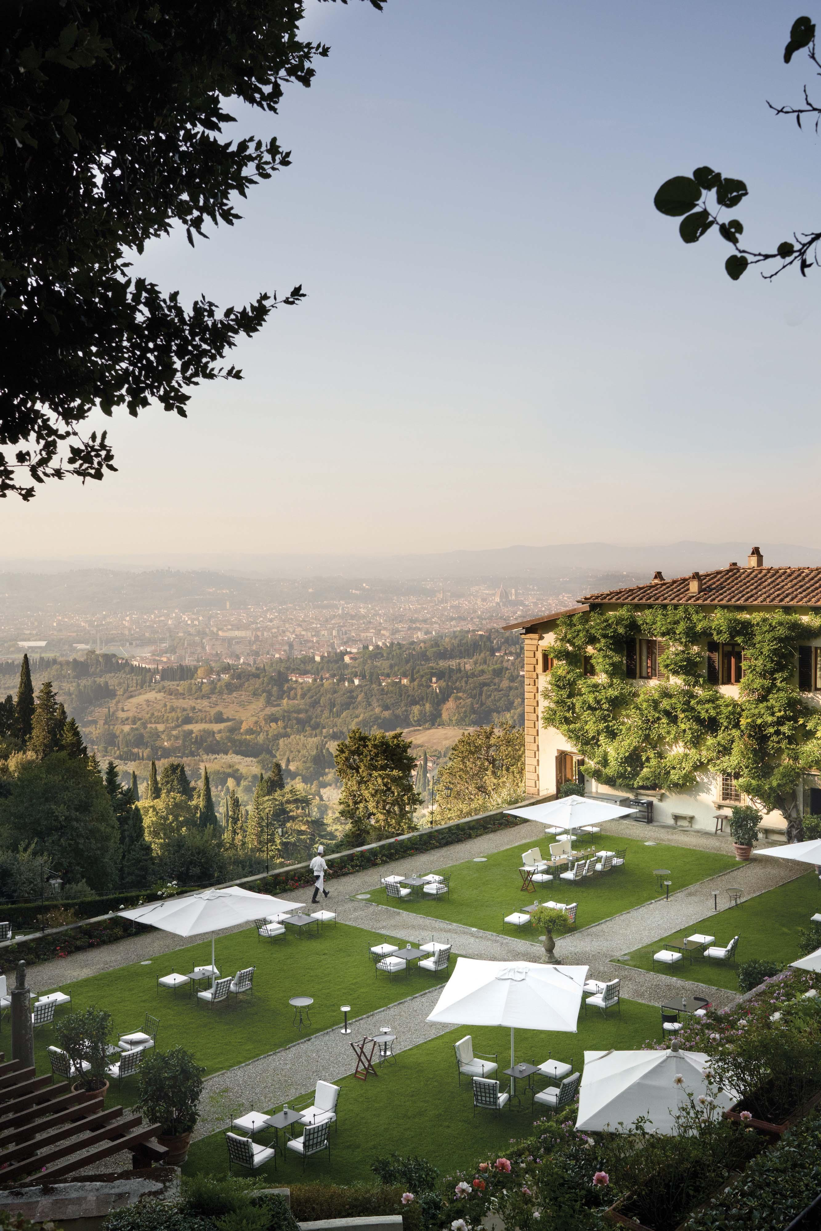 The lush Italian gardens boast stunning views of Florence